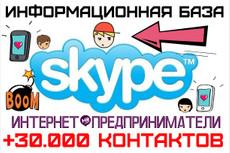 База 30000 скайпов интернет предпринимателей 3 - kwork.ru